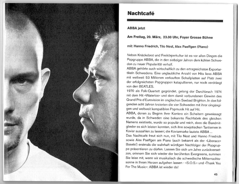Premiere am Theater Basel, 20. März 1998